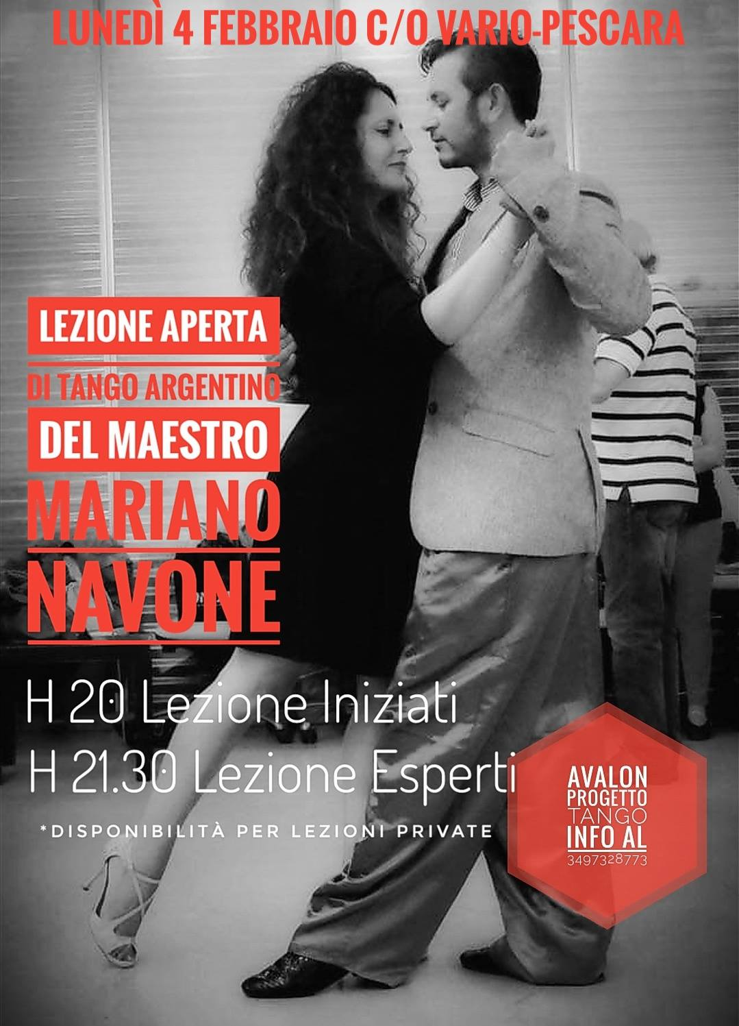 Lunedì 4 febbraio la lezione di tango argentino del Maestro Mariano Navone - avalon progetto tango